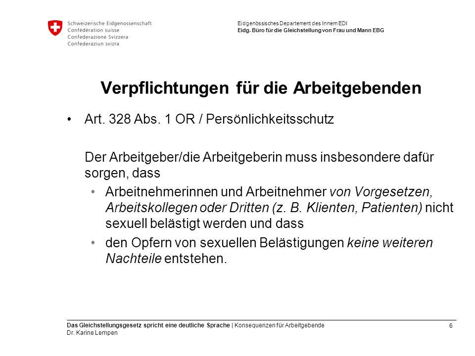 6 Das Gleichstellungsgesetz spricht eine deutliche Sprache | Konsequenzen für Arbeitgebende Dr.