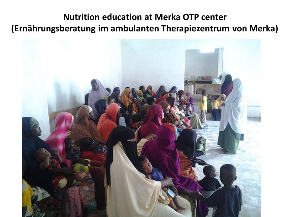 Nutrition education at Merka OTP center (Ernährungsberatung im ambulanten Therapiezentrum von Merka)