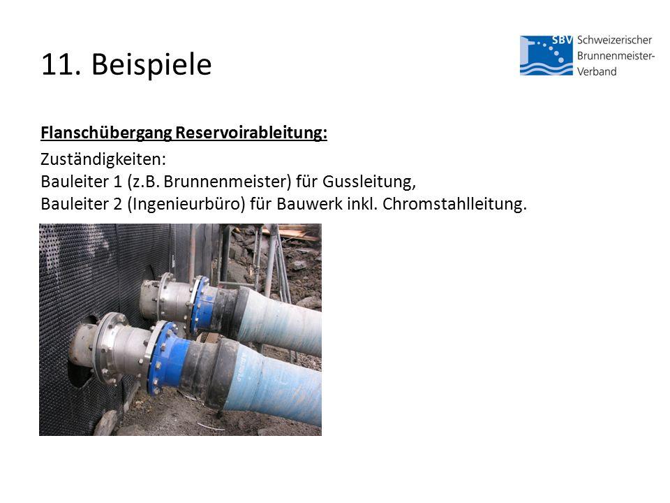 11. Beispiele Flanschübergang Reservoirableitung: Zuständigkeiten: Bauleiter 1 (z.B.