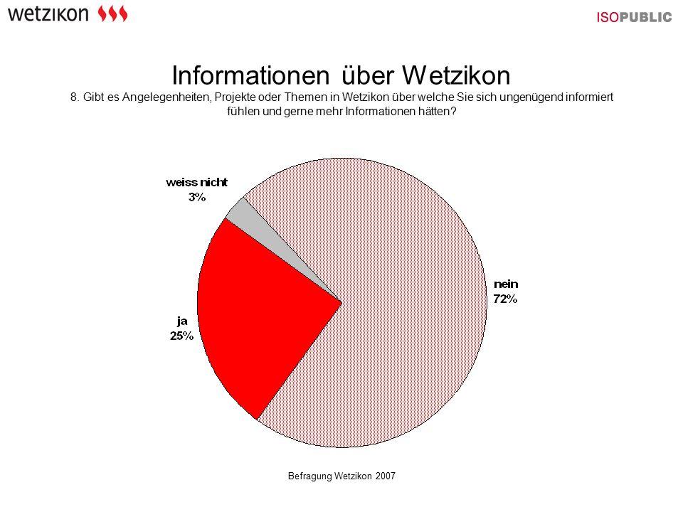 Befragung Wetzikon 2007 Informationen über Wetzikon 8. Gibt es Angelegenheiten, Projekte oder Themen in Wetzikon über welche Sie sich ungenügend infor
