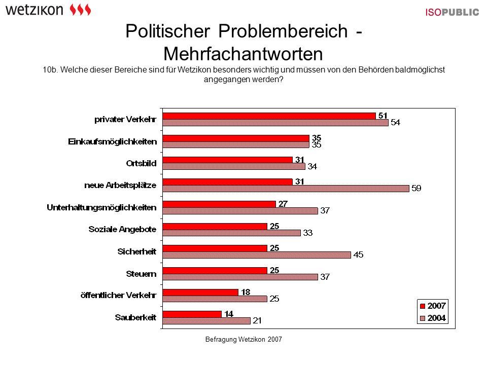 Befragung Wetzikon 2007 Politischer Problembereich - Mehrfachantworten 10b. Welche dieser Bereiche sind für Wetzikon besonders wichtig und müssen von