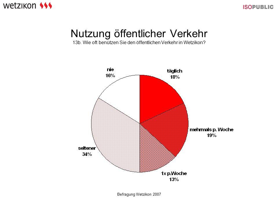 Befragung Wetzikon 2007 Nutzung öffentlicher Verkehr 13b. Wie oft benützen Sie den öffentlichen Verkehr in Wetzikon?