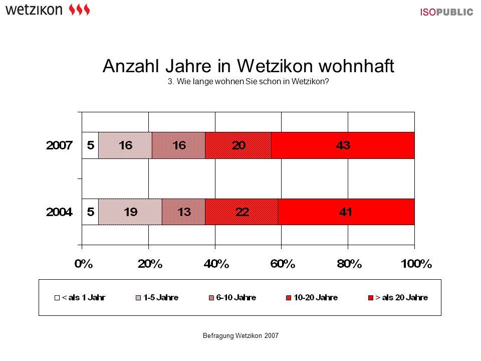 Befragung Wetzikon 2007 Anzahl Jahre in Wetzikon wohnhaft 3. Wie lange wohnen Sie schon in Wetzikon?