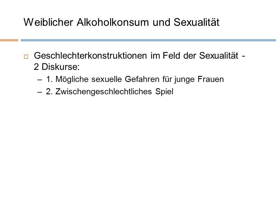 Weiblicher Alkoholkonsum und Sexualität  Geschlechterkonstruktionen im Feld der Sexualität - 2 Diskurse: –1.