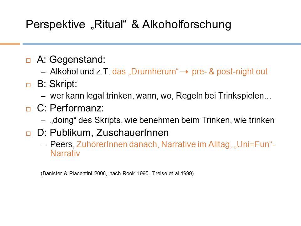 """Perspektive """"Ritual"""" & Alkoholforschung  A: Gegenstand: –Alkohol und z.T. das """"Drumherum"""" pre- & post-night out  B: Skript: –wer kann legal trinken,"""