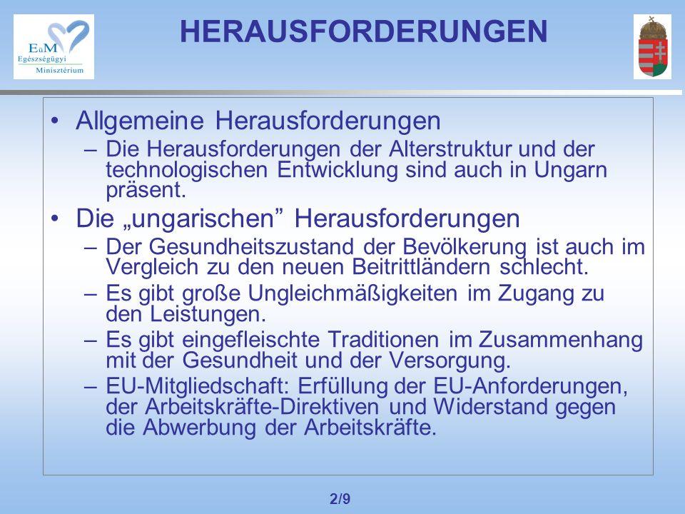 2/9 HERAUSFORDERUNGEN Allgemeine Herausforderungen –Die Herausforderungen der Alterstruktur und der technologischen Entwicklung sind auch in Ungarn präsent.