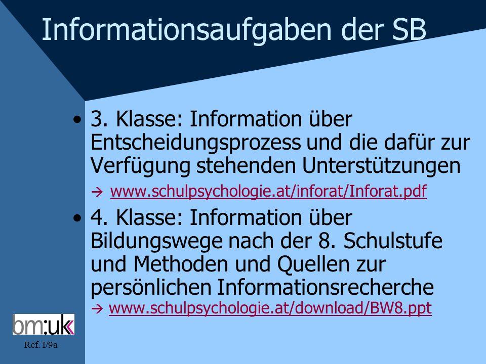 Ref. I/9a Informationsaufgaben der SB 3.