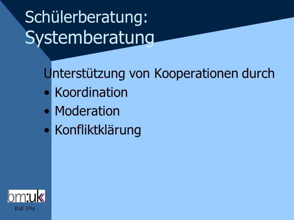 Ref. I/9a Schülerberatung: Systemberatung Unterstützung von Kooperationen durch Koordination Moderation Konfliktklärung