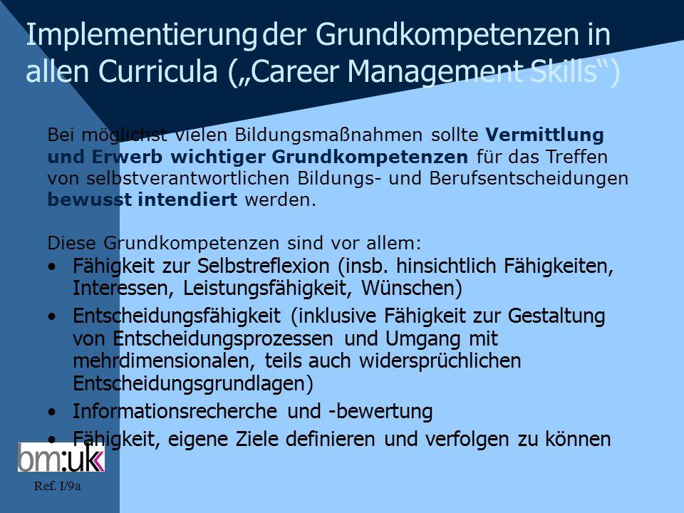 """Ref. I/9a Implementierung der Grundkompetenzen in allen Curricula (""""Career Management Skills"""") Bei möglichst vielen Bildungsmaßnahmen sollte Vermittlu"""