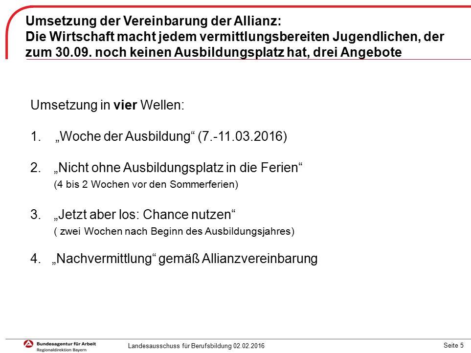 Seite 5 Umsetzung der Vereinbarung der Allianz: Die Wirtschaft macht jedem vermittlungsbereiten Jugendlichen, der zum 30.09.