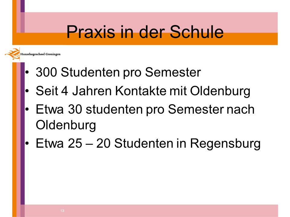 13 Praxis in der Schule 300 Studenten pro Semester Seit 4 Jahren Kontakte mit Oldenburg Etwa 30 studenten pro Semester nach Oldenburg Etwa 25 – 20 Studenten in Regensburg