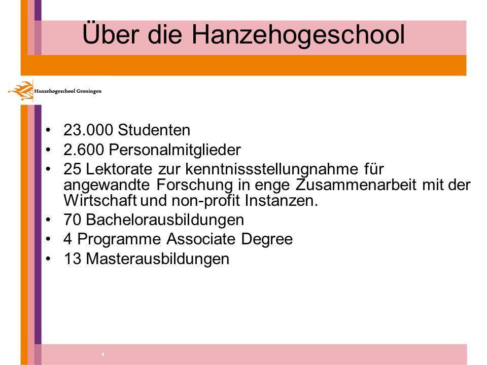 4 Über die Hanzehogeschool 23.000 Studenten 2.600 Personalmitglieder 25 Lektorate zur kenntnissstellungnahme für angewandte Forschung in enge Zusammenarbeit mit der Wirtschaft und non-profit Instanzen.