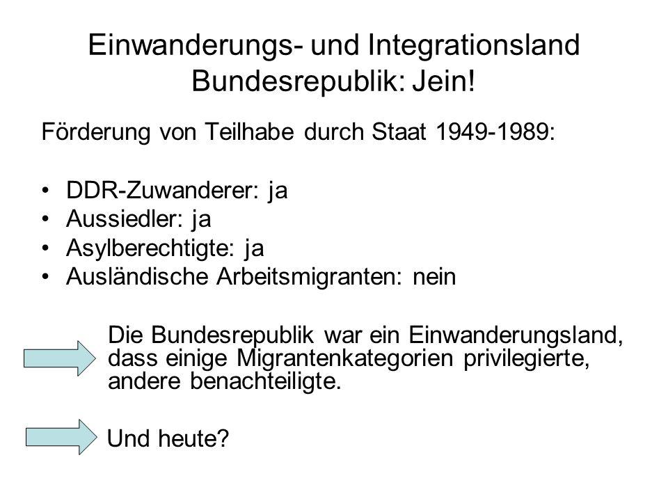 Einwanderungs- und Integrationsland Bundesrepublik: Jein.