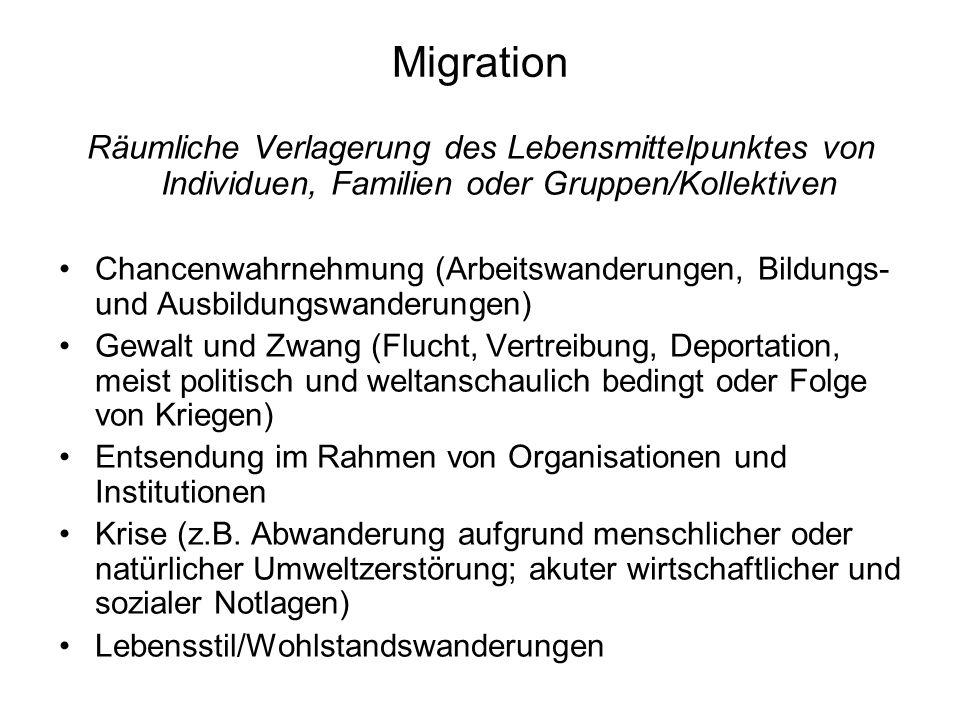 Migration ist Fluktuation, die Niederlassung ein selteneres Ereignis In die Bundesrepublik kamen 1955-1973 auf der Basis von Anwerbeverträgen 14 Mio.