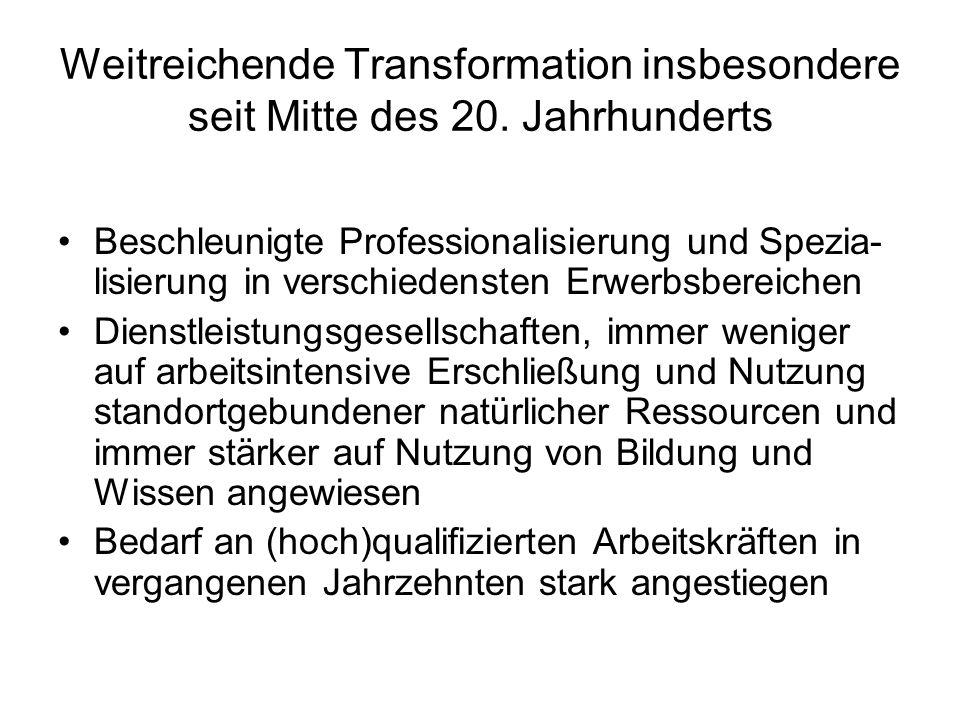 Weitreichende Transformation insbesondere seit Mitte des 20.