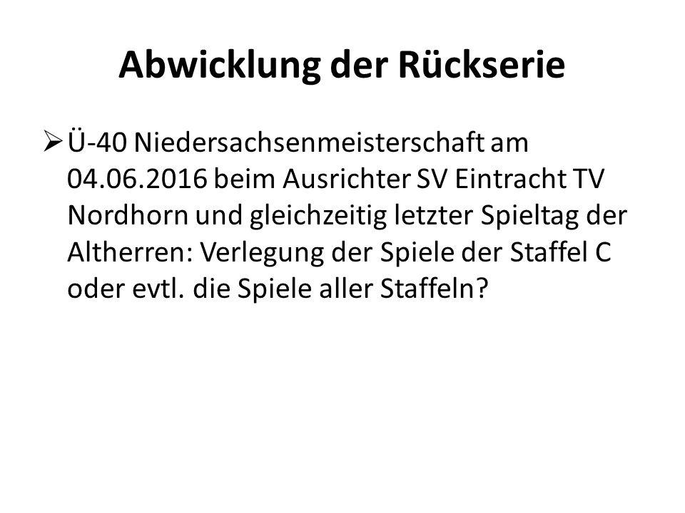 Abwicklung der Rückserie  Ü-40 Niedersachsenmeisterschaft am 04.06.2016 beim Ausrichter SV Eintracht TV Nordhorn und gleichzeitig letzter Spieltag der Altherren: Verlegung der Spiele der Staffel C oder evtl.