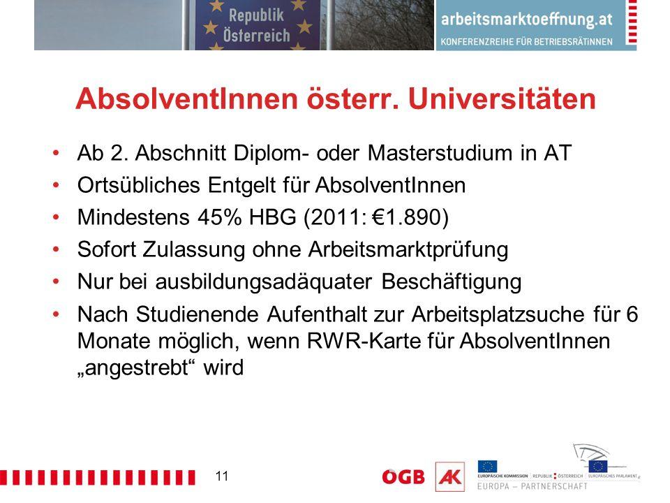 11 AbsolventInnen österr. Universitäten Ab 2. Abschnitt Diplom- oder Masterstudium in AT Ortsübliches Entgelt für AbsolventInnen Mindestens 45% HBG (2