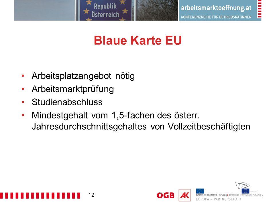 12 Blaue Karte EU Arbeitsplatzangebot nötig Arbeitsmarktprüfung Studienabschluss Mindestgehalt vom 1,5-fachen des österr. Jahresdurchschnittsgehaltes