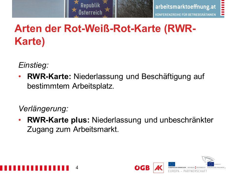 4 Arten der Rot-Weiß-Rot-Karte (RWR- Karte) Einstieg: RWR-Karte: Niederlassung und Beschäftigung auf bestimmtem Arbeitsplatz. Verlängerung: RWR-Karte