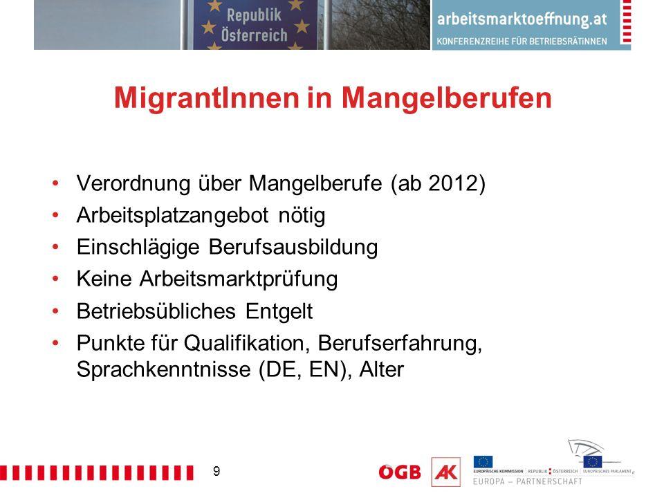 9 MigrantInnen in Mangelberufen Verordnung über Mangelberufe (ab 2012) Arbeitsplatzangebot nötig Einschlägige Berufsausbildung Keine Arbeitsmarktprüfung Betriebsübliches Entgelt Punkte für Qualifikation, Berufserfahrung, Sprachkenntnisse (DE, EN), Alter