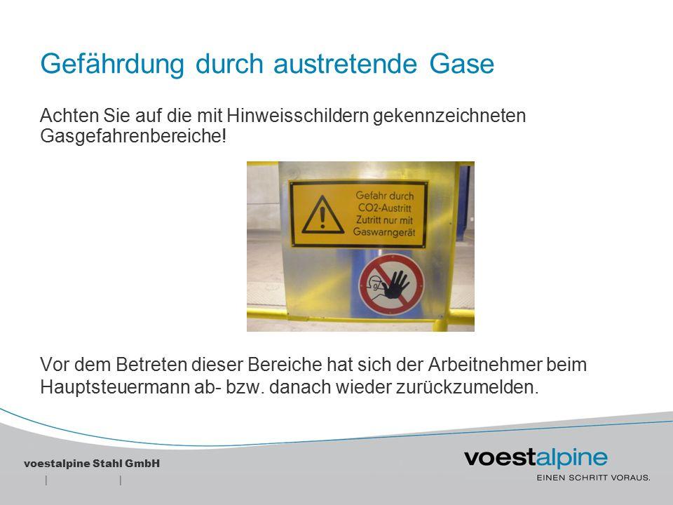 || voestalpine Stahl GmbH Gefährdung durch austretende Gase Während Reparaturen und Rundgängen im Ofenbereich muss ein geeignetes Gaswarngerät getragen werden.