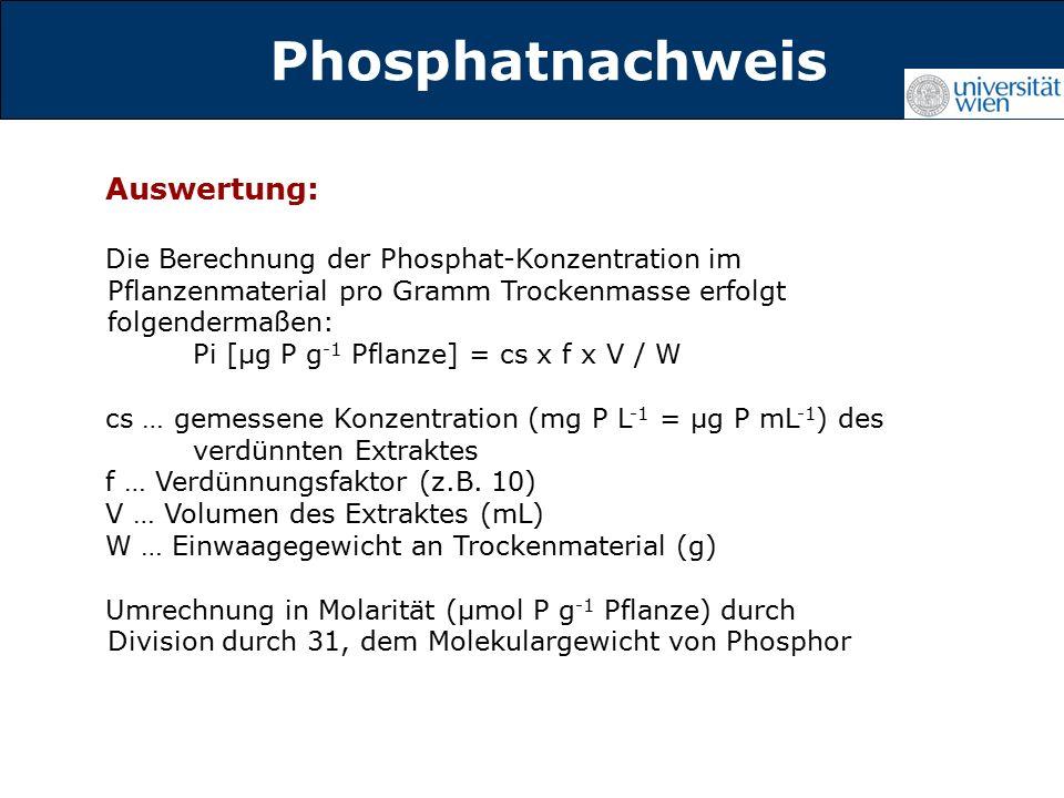 Titelmasterformat durch Klicken Phosphatnachweis Auswertung: Die Berechnung der Phosphat-Konzentration im Pflanzenmaterial pro Gramm Trockenmasse erfolgt folgendermaßen: Pi [µg P g -1 Pflanze] = cs x f x V / W cs … gemessene Konzentration (mg P L -1 = µg P mL -1 ) des verdünnten Extraktes f … Verdünnungsfaktor (z.B.