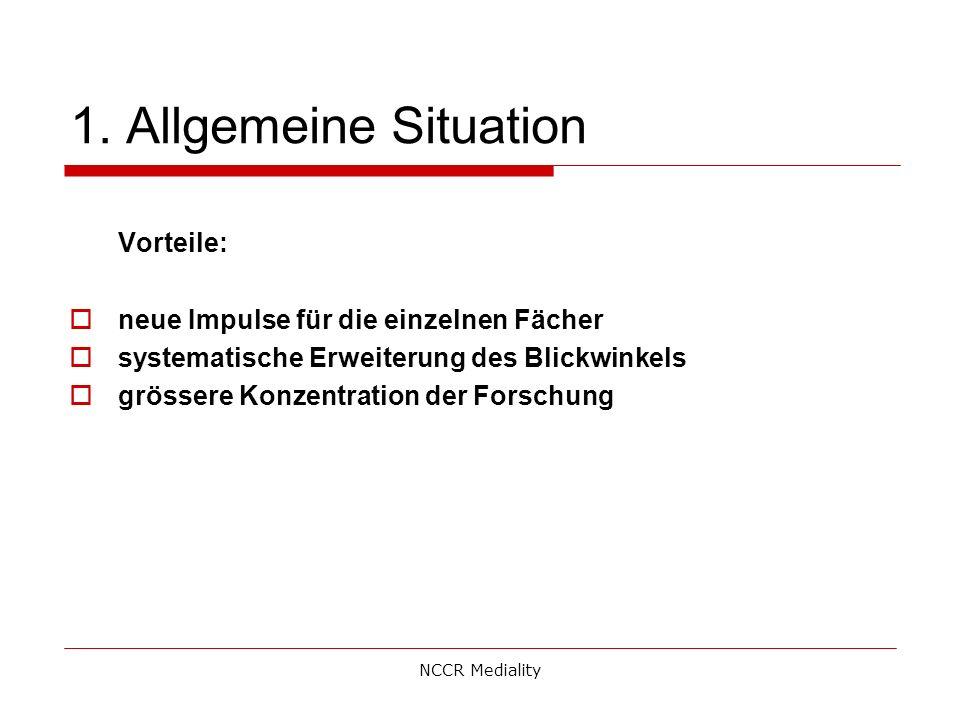 1. Allgemeine Situation Vorteile:  neue Impulse für die einzelnen Fächer  systematische Erweiterung des Blickwinkels  grössere Konzentration der Fo