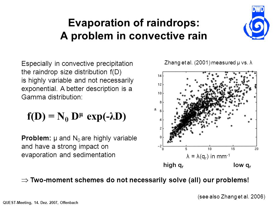 QUEST-Meeting, 14. Dez. 2007, Offenbach Evaporation of raindrops: A problem in convective rain Especially in convective precipitation the raindrop siz