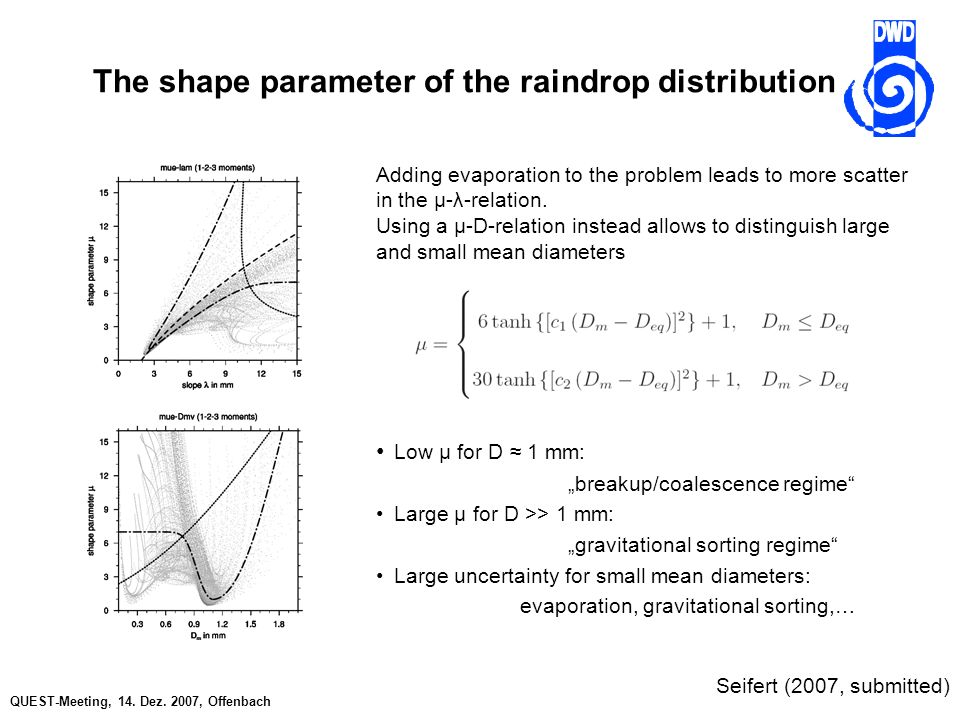 QUEST-Meeting, 14. Dez. 2007, Offenbach The shape parameter of the raindrop distribution Adding evaporation to the problem leads to more scatter in th