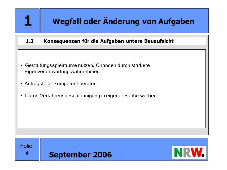 September 2006 5 Folie: 5 2 Neuorganisation Bauaufsicht 2.1Neuorganisation obere Bauaufsicht Wegfall der Zustimmung für Vorhaben im Außenbereich Neuordnung der Geschäftsprüfung Wegfall der Widerspruchsverfahren