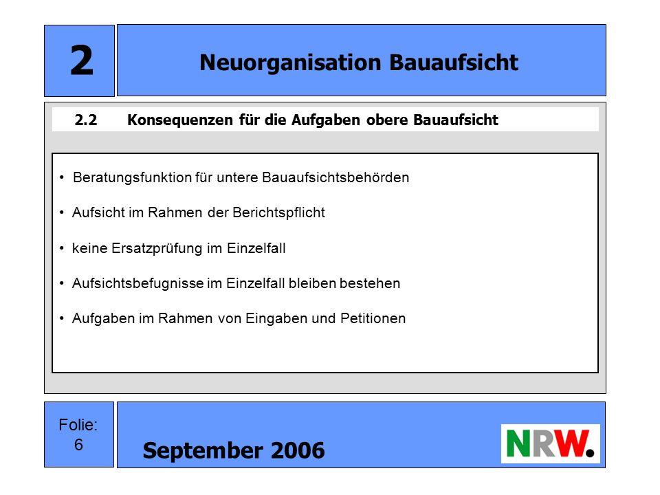 September 2006 7 Folie: 7 3 Sonstiges Weitere Bauthemen Novellierung § 6 BauO NW Neufassung des Außenbereichserlasses