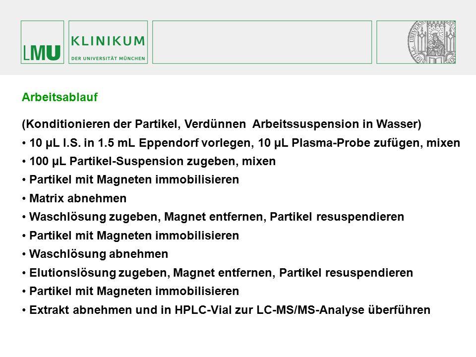 Arbeitsablauf (Konditionieren der Partikel, Verdünnen Arbeitssuspension in Wasser) 10 µL I.S. in 1.5 mL Eppendorf vorlegen, 10 µL Plasma-Probe zufügen