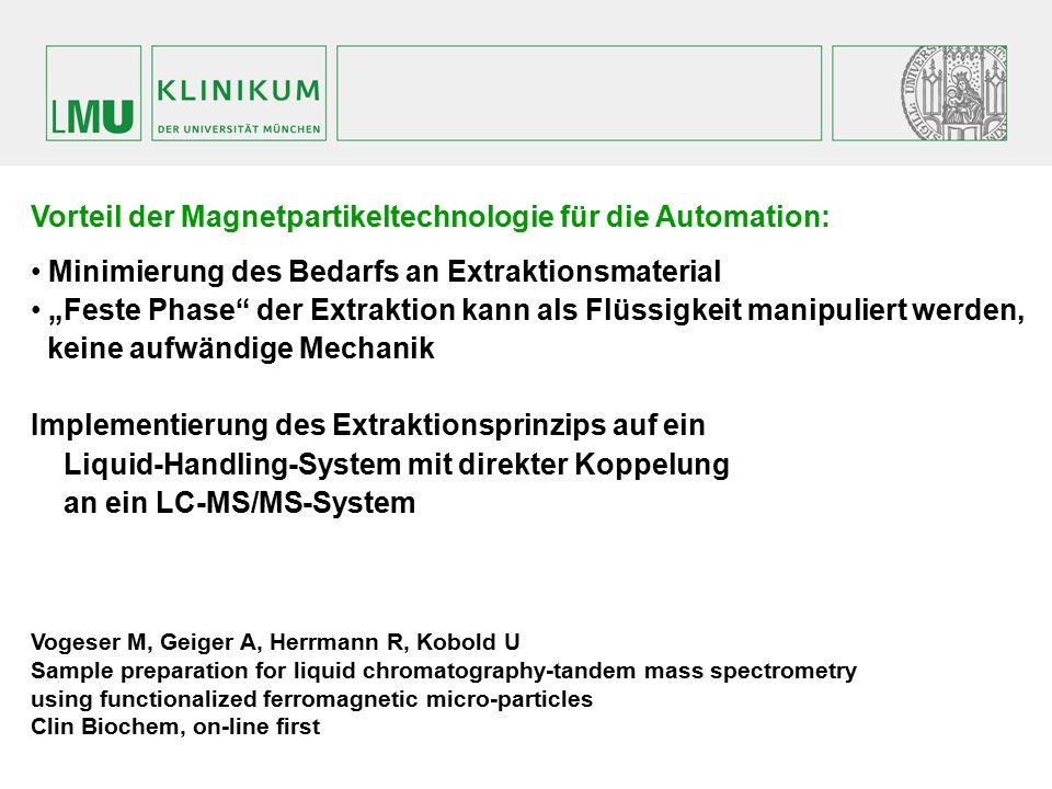"""Vorteil der Magnetpartikeltechnologie für die Automation: Minimierung des Bedarfs an Extraktionsmaterial """"Feste Phase"""" der Extraktion kann als Flüssig"""