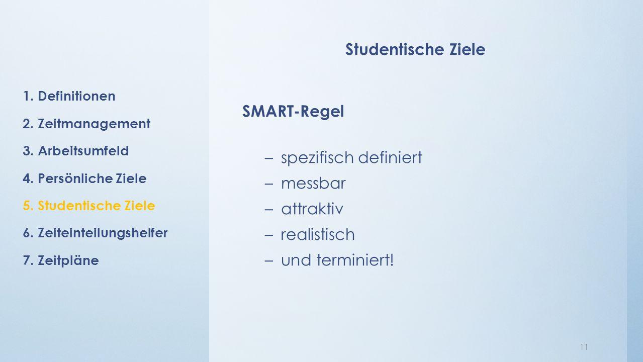 Studentische Ziele SMART-Regel –spezifisch definiert –messbar –attraktiv –realistisch –und terminiert.
