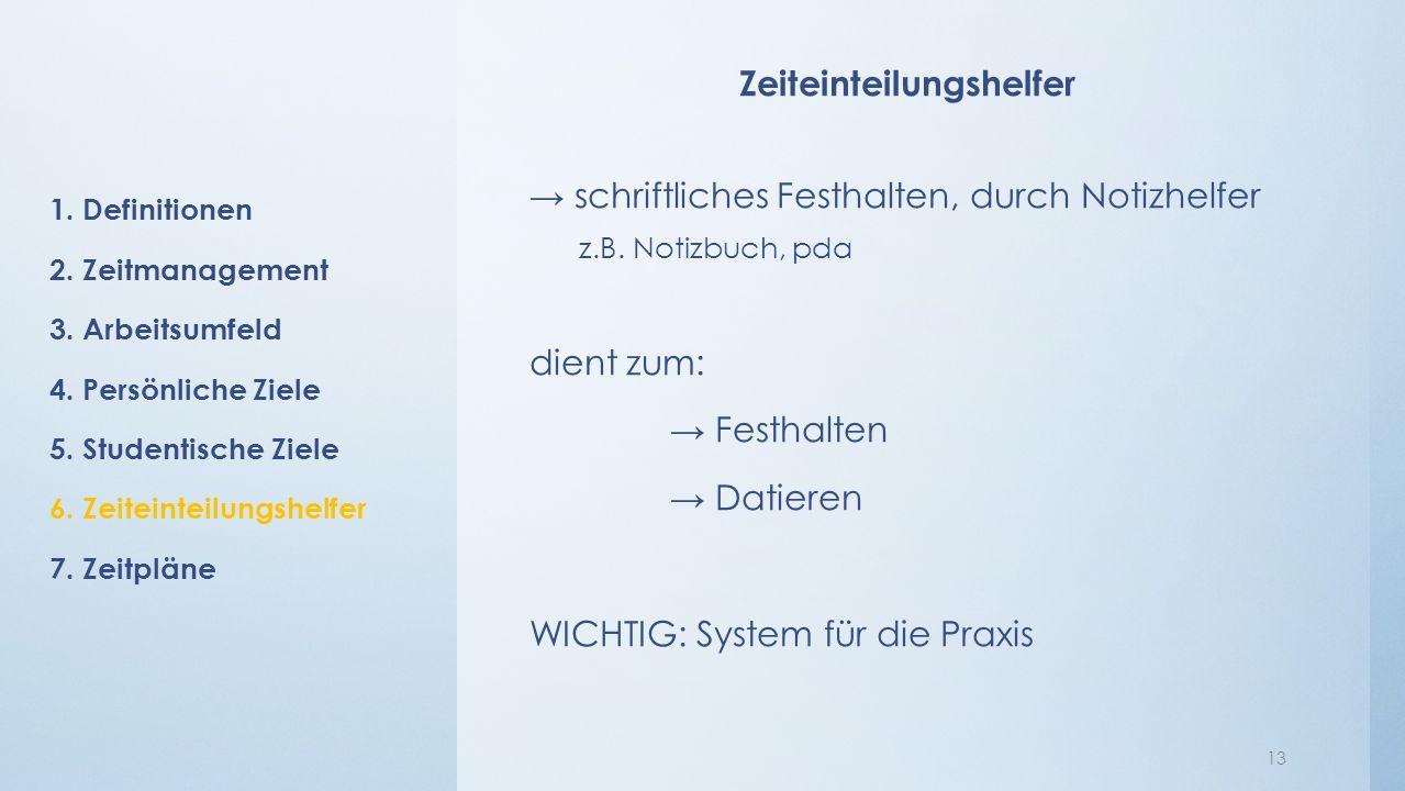 Zeiteinteilungshelfer → schriftliches Festhalten, durch Notizhelfer z.B.