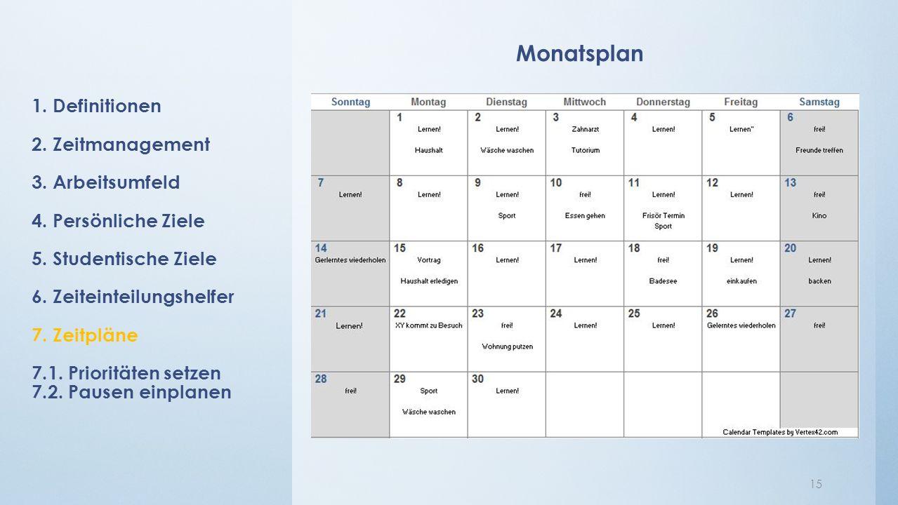 Monatsplan 15 1. Definitionen 2. Zeitmanagement 3. Arbeitsumfeld 4. Persönliche Ziele 5. Studentische Ziele 6. Zeiteinteilungshelfer 7. Zeitpläne 7.1.