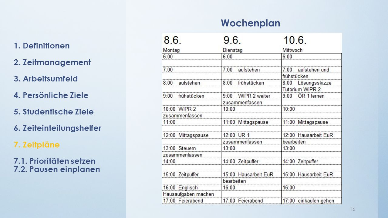 Wochenplan 16 1. Definitionen 2. Zeitmanagement 3.