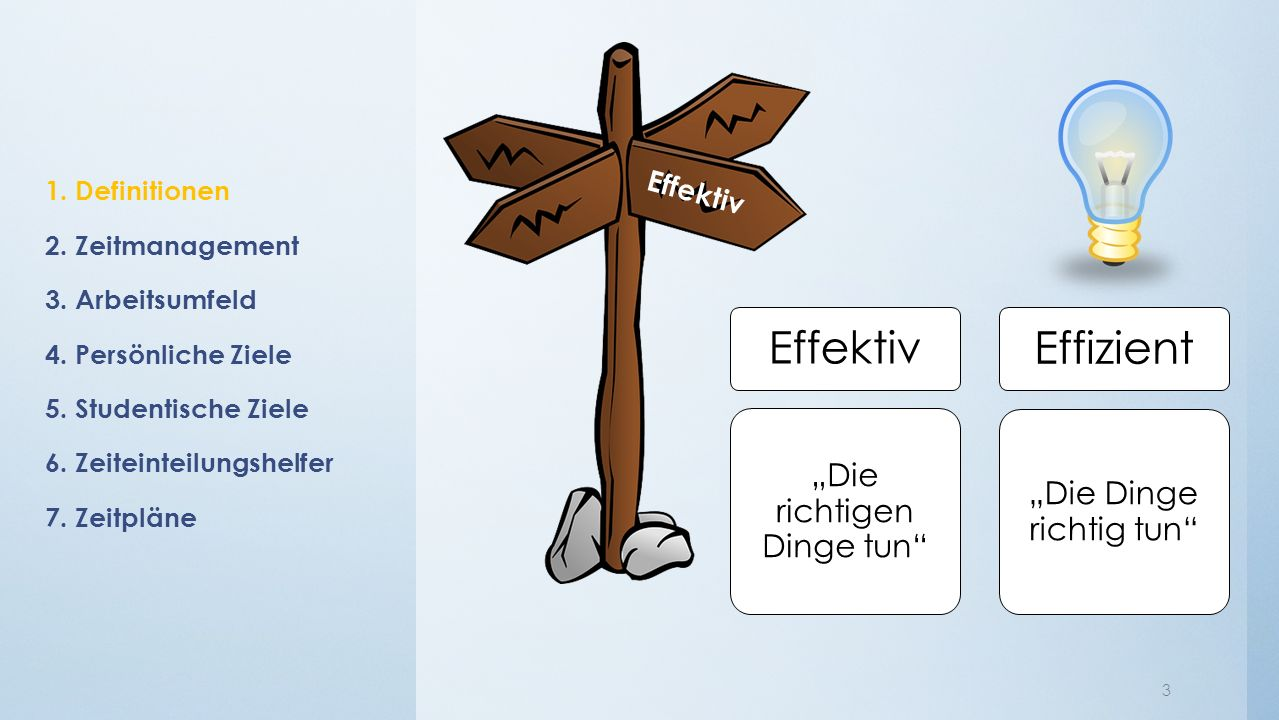 1. Definitionen 2. Zeitmanagement 3. Arbeitsumfeld 4.