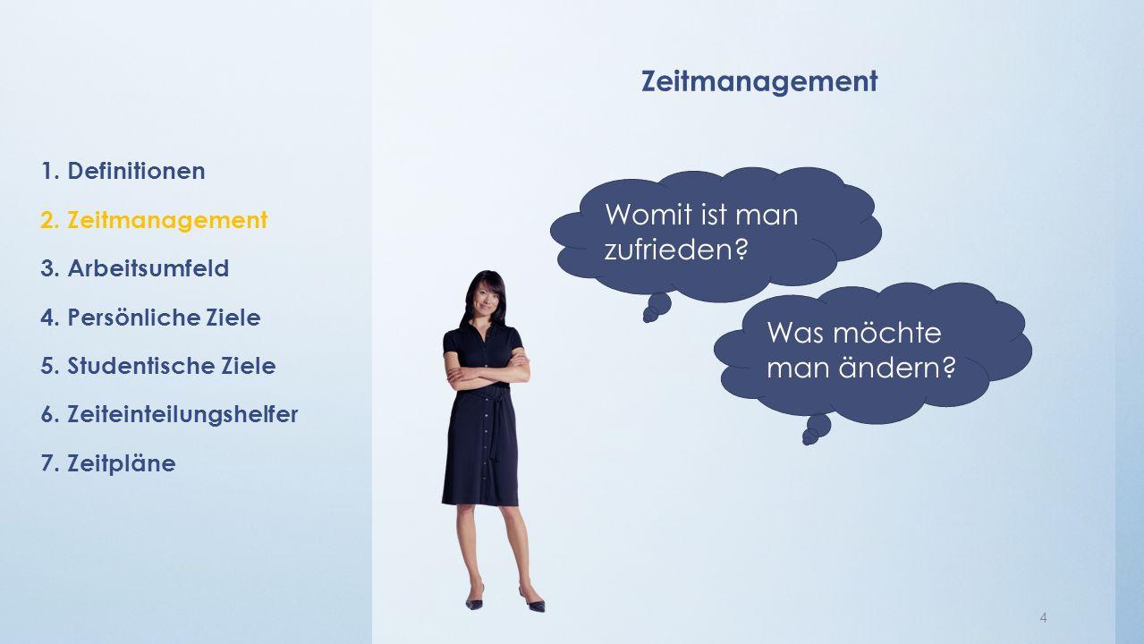 Zeitmanagement 4 1.Definitionen 2. Zeitmanagement 3.