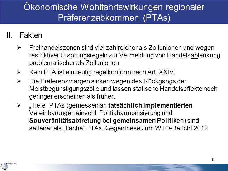 II.Fakten  Freihandelszonen sind viel zahlreicher als Zollunionen und wegen restriktiver Ursprungsregeln zur Vermeidung von Handelsablenkung problematischer als Zollunionen.