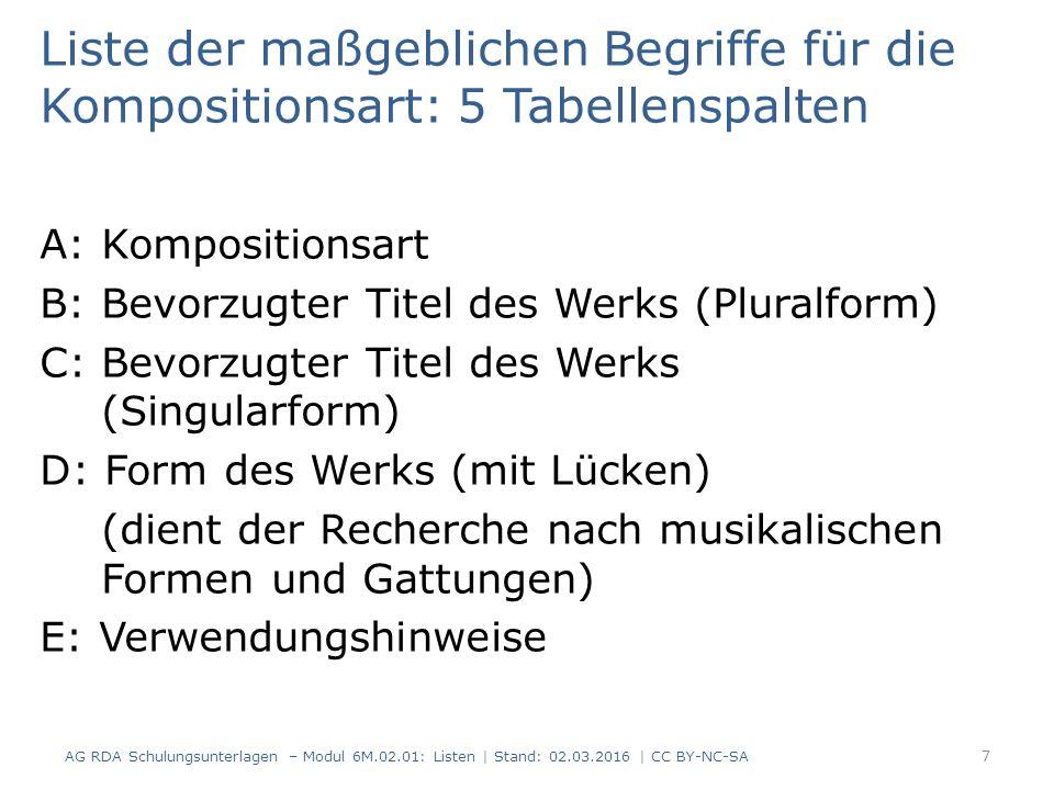 Liste der maßgeblichen Begriffe für die Kompositionsart: 5 Tabellenspalten A: Kompositionsart B: Bevorzugter Titel des Werks (Pluralform) C: Bevorzugt
