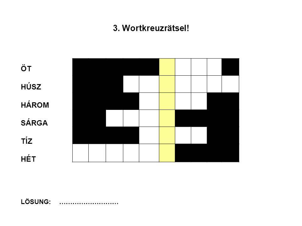 3.Wortkreuzrätsel.