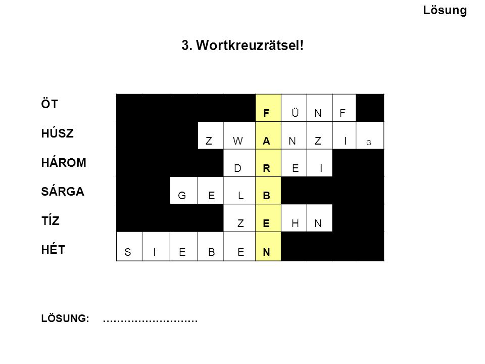 3. Wortkreuzrätsel.