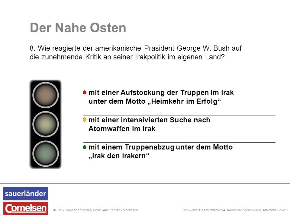 Schweizer Geschichtsbuch 4 Handreichungen für den Unterricht Folie 0© 2012 Cornelsen Verlag, Berlin. Alle Rechte vorbehalten. Der Nahe Osten 8. Wie re