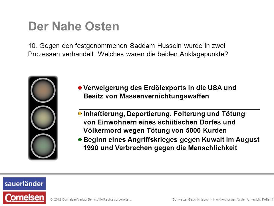 Schweizer Geschichtsbuch 4 Handreichungen für den Unterricht Folie 0© 2012 Cornelsen Verlag, Berlin. Alle Rechte vorbehalten. Der Nahe Osten 10. Gegen