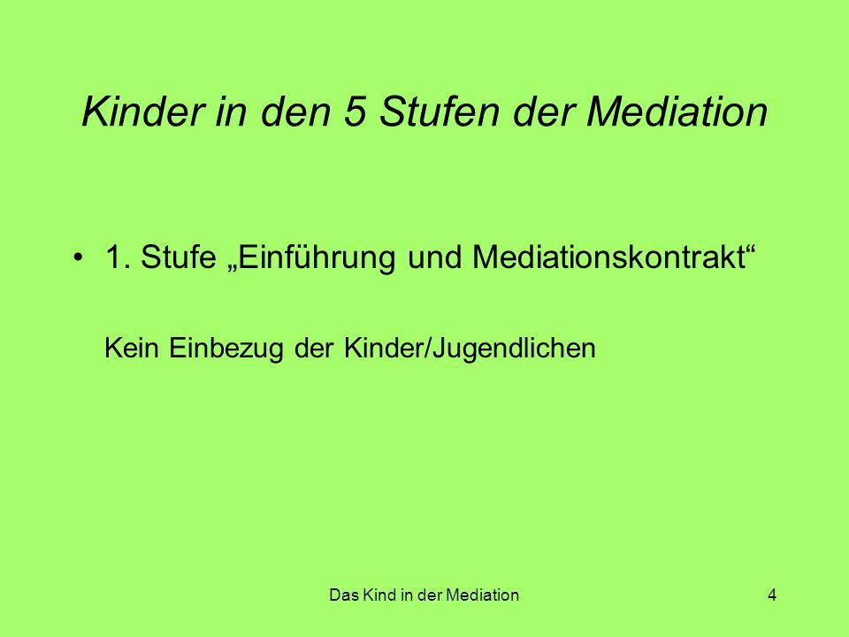Das Kind in der Mediation5 Kinder in den 5 Stufen der Mediation 2.
