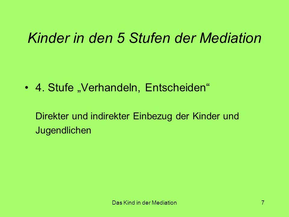 Das Kind in der Mediation8 Kinder in den 5 Stufen der Mediation 5.