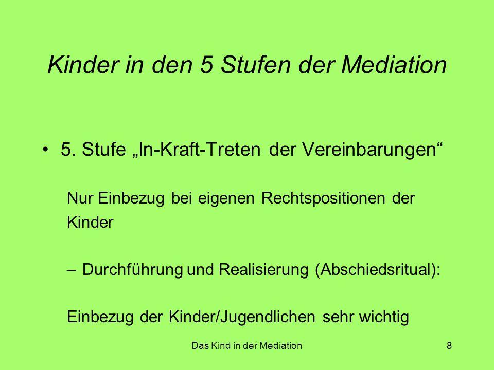 Das Kind in der Mediation9 Wichtige methodische Bausteine Entwickeln von Regeln für die Mediation –Konsens über die Grundregeln –Bsp: - vereinbarte Redenszeiten - Vertraulichkeit der Sitzungen - Absagen / Verschieben von Sitzungen