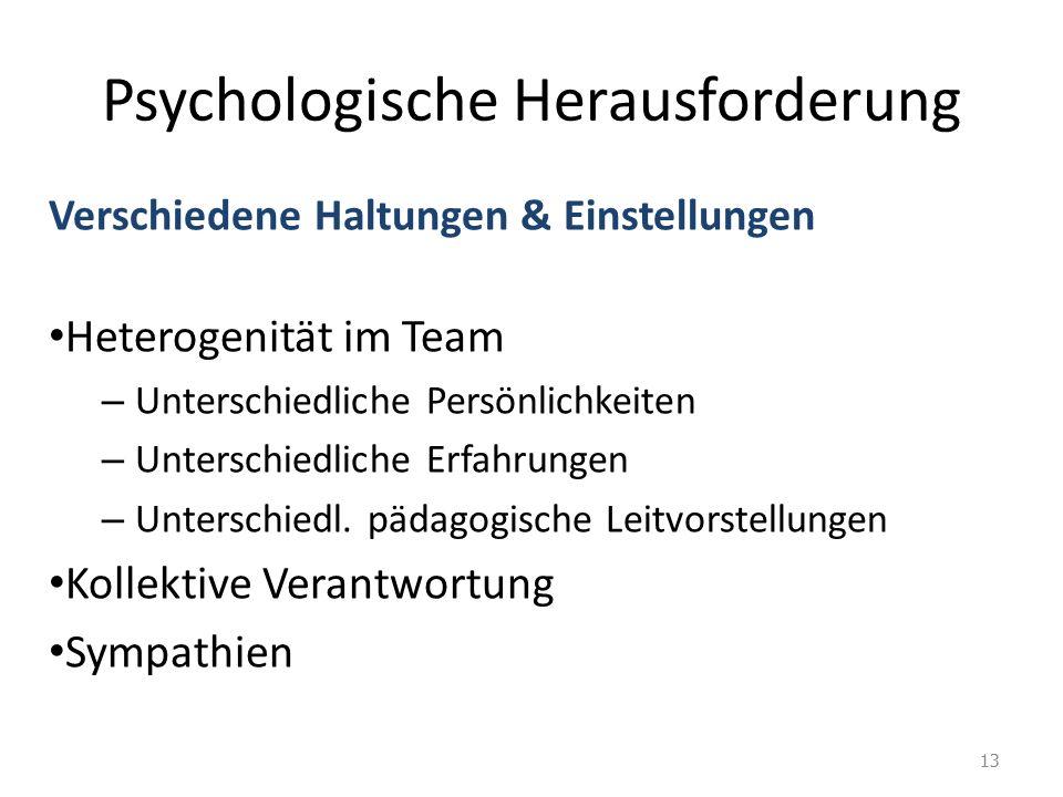Psychologische Herausforderung Verschiedene Haltungen & Einstellungen Heterogenität im Team – Unterschiedliche Persönlichkeiten – Unterschiedliche Erfahrungen – Unterschiedl.