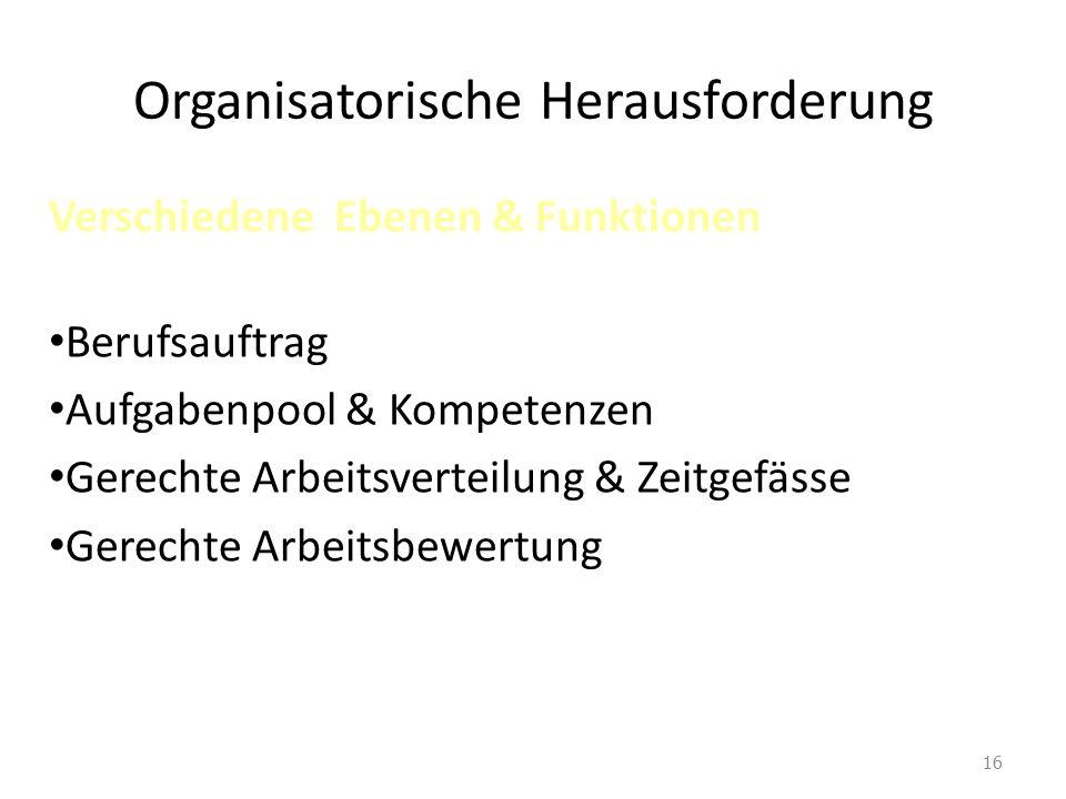 Organisatorische Herausforderung Verschiedene Ebenen & Funktionen Berufsauftrag Aufgabenpool & Kompetenzen Gerechte Arbeitsverteilung & Zeitgefässe Gerechte Arbeitsbewertung 16